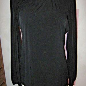 Black Boat Neck Slinky Stretch Belted Shirt L